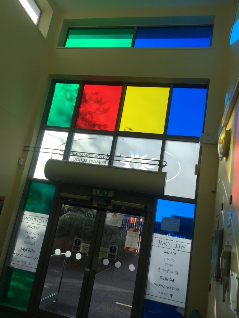 Coloured glass in school foyer